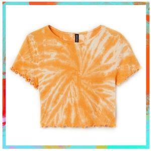 Yellow Tie Dye Crop Top